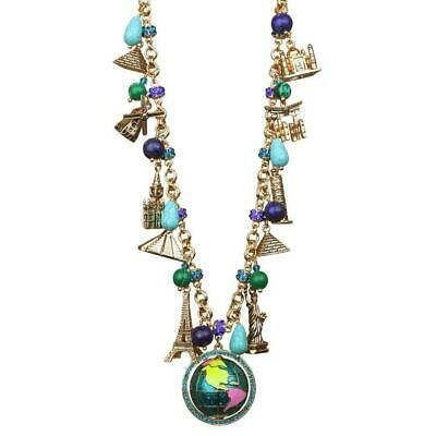 """""""World Around Us"""" Multi Charm Necklace (Antique Goldtone) Ritzy Couture"""