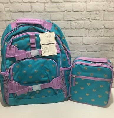 Pottery Barn Kids girl Large Teal Lavender Glitter HEART Backpack & Lunch Box