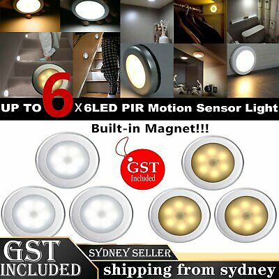 6 LEDs PIR Motion Sensor Night Light Infrared Wireless Wall Lamp Battery Powered