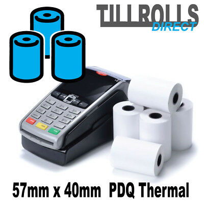 1000 Rolls - 57 x 40mm Thermal Till Rolls PDQ CREDIT CARD - FREE DELIVERY