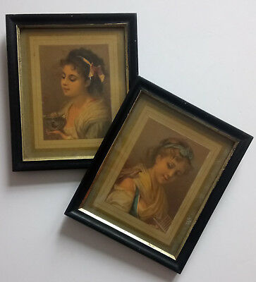 2 x True Vintage Glass Framed Prints Little Girls Unsigned 70's Wall Art Display