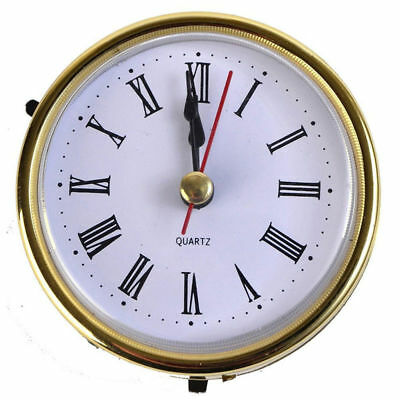 "Clock Quartz Movement Insert Roman Numeral White Face Gold Trim 2-1/2"" (65mm)"