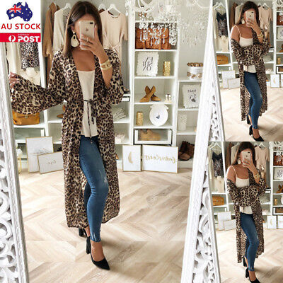 Women Leopard Print Long Cardigan Flare Sleeve Tied Open Coat Casual Outwear