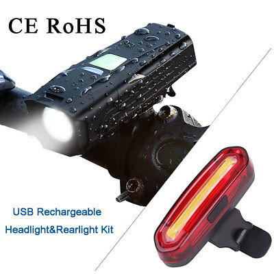USB Rechargeable LED Bike Bicycle Cycle Front Headlamp + 4 Mode Rear Tail Light