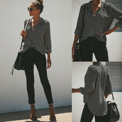 Womens Long Sleeve Blouse Black&White Stripes Loose Tops Ladies Office Shirts