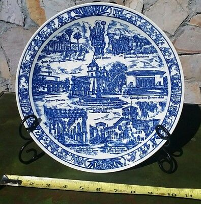 Vtg Vernon Kilns California Pottery Santa / Saint Barbara Collectable Plate Blue