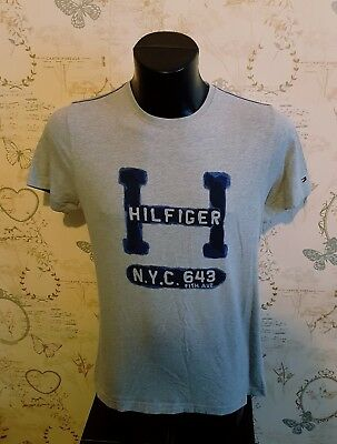 "Tommy Hilfiger Denim nyc 5th avenue  Grey Logo T Shirt Small mans 36"" xl boys"