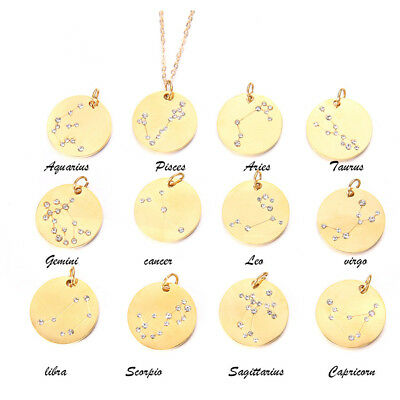 Zodiac Sign Necklace Constellation Jewelry Horoscope 12 Pendant Astrology Chain