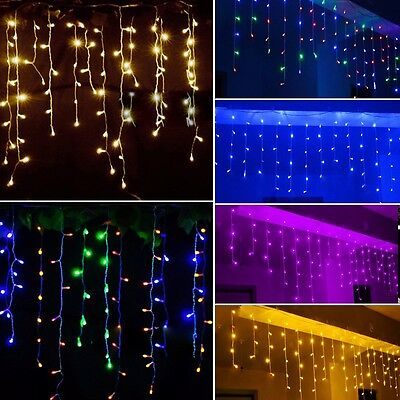LED Curtain Lights Icicle Hanging Outdoor Wedding Christmas String Fairy Lights