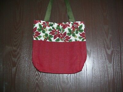 Christmas Tote Bag New Poinsettia Themed 10x10 Inches