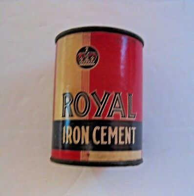 Vintage Royal Iron Cement Construction Grade Advertising Paper Can