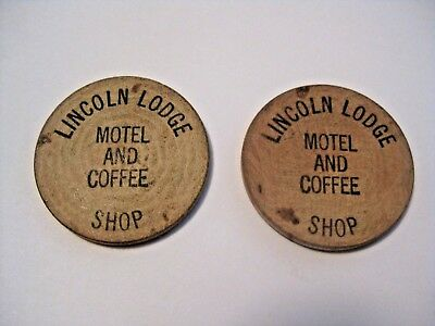 2 Vintage Lincoln Lodge Motel & Coffee Advertising Wooden Nickels / Tokens