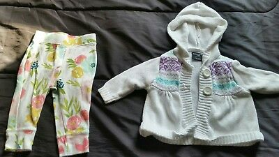 girls 3-6 months white sweater w/hood purple/blue accent and flower pants