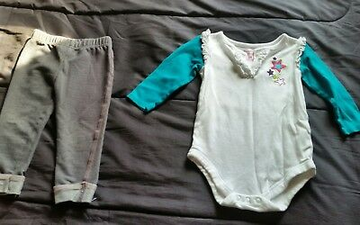 girls size 12 months one piece white /turquoise and gray jeggings