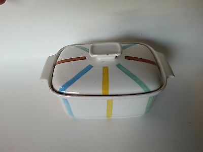 Vintage de SPHINX PARAFEU HOLLAND COVERED CASSEROLE YELLOW GREEN RED STRIPES