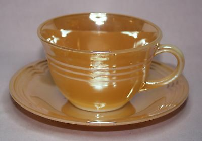 Fire-King  3-Band  Peach Lustre  Cup/Saucer Oven Ware U.s.a.