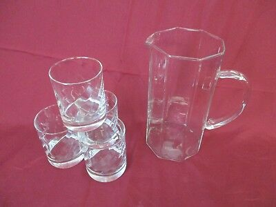 Set of 4 Tumbler Glasses with Twist in The Pattern - With Non matching Water Jug
