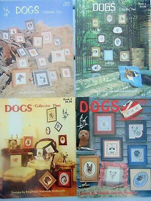 LOT of 4 Cross Stitch Books Complete DOGS Collection 1,2,3,4 58 Breed Sampler