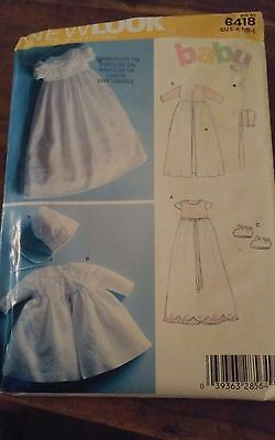 Oop New Look 6418 babies christening baptism gowns bonnets sz nb to 24 lbs NEW