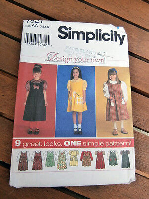 Oop Simplicity 7821 Design your own girls blouse jumper size 3-6 NEW