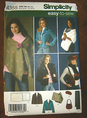 Oop Simplicity 4355 easy to sew jacket stole scarf hat bag M-XL NEW