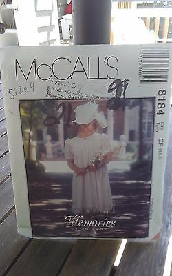 Oop Mccalls 8184 girls retro empire dress lace insets flower girl size 4-6 NEW