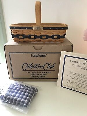 Longaberger CC JW Collection Miniature Gathering Basket New in Box w/Certificate