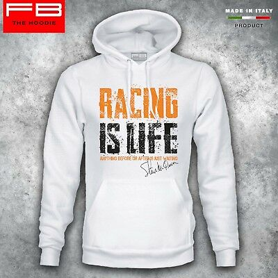 Felpa Hoodie STEVE McQUEEN RACING IS LIFE Ford GT40 Mustang Film Legendary Race