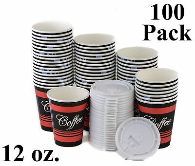 100 Pack 12 Oz. Poly Paper Disposable Hot Tea Coffee Cups with Flat White Lids
