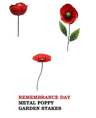 REMEMBRANCE DAY METAL POPPY Garden Stakes *GIFT IDEA* FREE DELIVERY D1