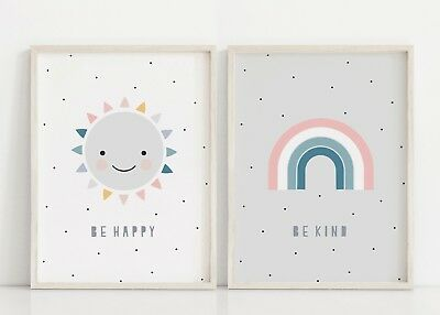 Be Happy & Be Kind - Set of 2 Prints - Wall Art - Baby Nursery Decor - Rainbow