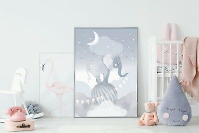 Sleepy Elephant - Nursery Print - Baby Room - Wall Art - Clouds - Circus - Kids