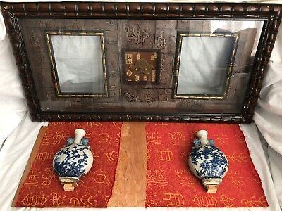 ANTIQUE CHINESE BLUE AND WHITE VASE SIGNED display case 2x Crackle effect vases