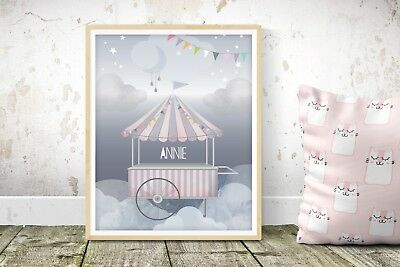 Enchanted Fairground - Nursery Print - Baby Room - Wall Art - Clouds - Circus
