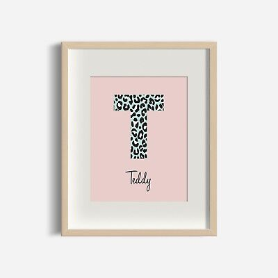 Leopard Initial (Blush & Mint) - Personalised Nursery Print - Baby Room - Name