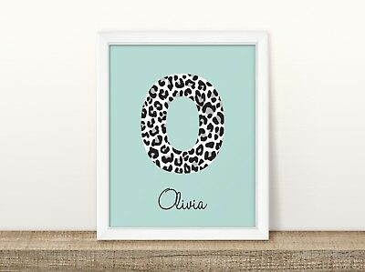 Leopard Initial (Mint & White) - Personalised Nursery Print - Baby Room - Name