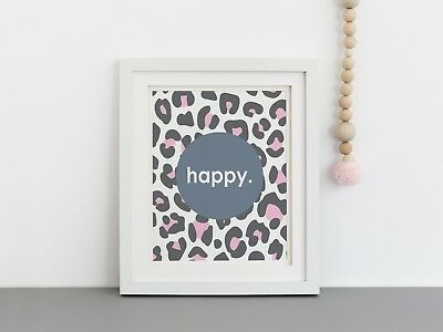Happy Leopard - Nursery Print - Wall Art - Kids Bedroom - Multicolour - Scandi