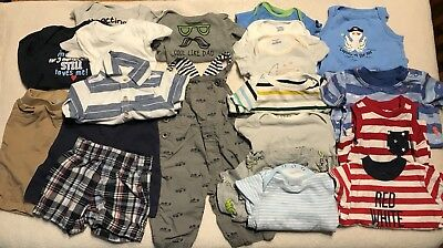 21 Piece Baby Boy Everyday Clothing Lot 0-3 Months Mixed Brands EUC