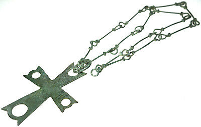 Byzantine Bronze Christian Cross Pendant with Chain