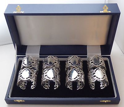 Boxed Set 8 Hallmarked Solid Silver Napkin Rings Serviette Ring 175.7g