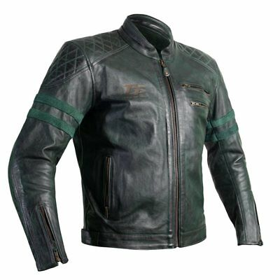 RST IOM TT Hillberry CE Motorcycle Leather Jacket (Green)   - UK40 EU50