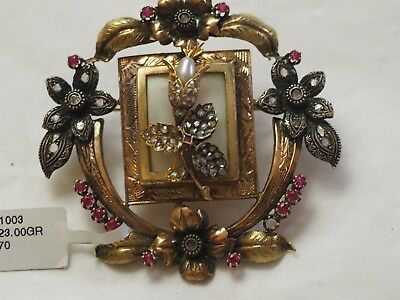 Fabulous Antique Victorian Diamond Ruby pearl Floral Brooche 18k