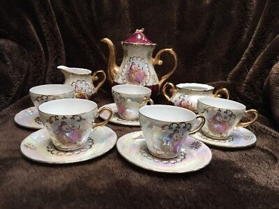 Used Lusterware Tea Set Victorian Scene Design with Gold Trim