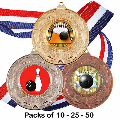 PARTY BULK DEAL TEN PIN BOWLING ACRYLIC MEDAL 50mm-70mm PACK OF 10 WITH RIBBONS