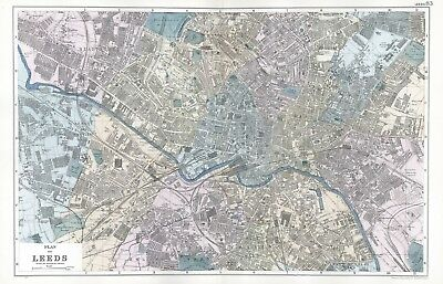 1902 Antique Vintage Leeds street plan map