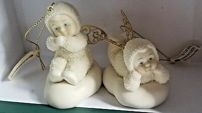 Department 56 SNOWBABIES CHRISTMAS ANGEL ORNAMENTS SET OF 2 new lot gold wings