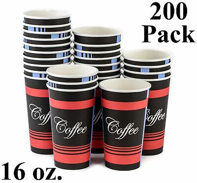 200 Pack 16 Oz. Eco Friendly Poly Paper Disposable Hot Tea Coffee Cups (No Lids)