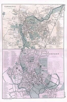 1902 Antique Vintage Oxford & Cambridge street plans maps