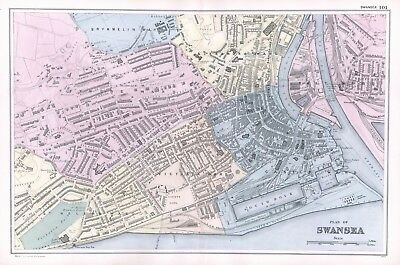 1902 Antique Vintage Swansea street plan map