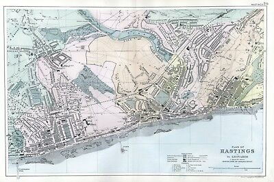 1902 Antique Vintage Hastings street plan map